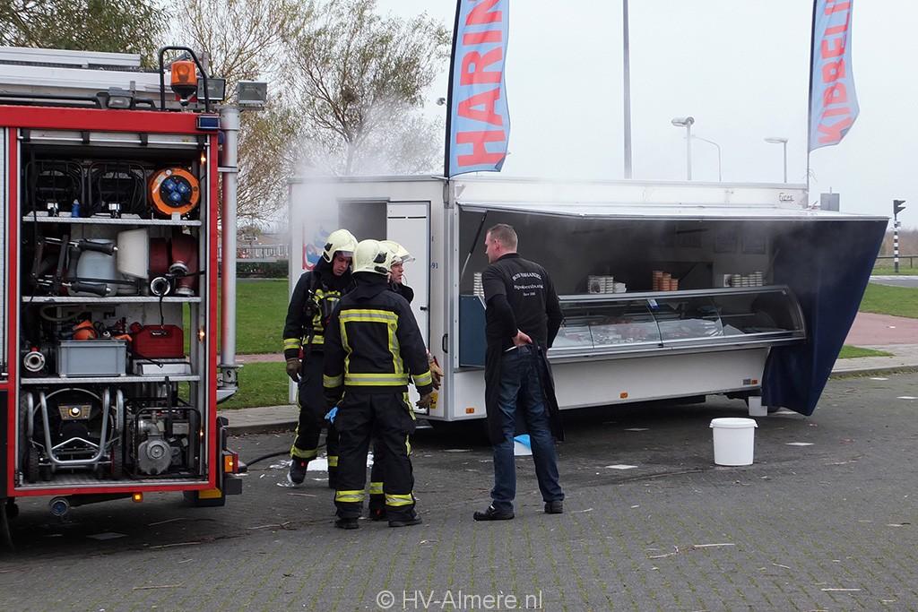 Brandweer blust brand in viskraam Noorderplassen 1