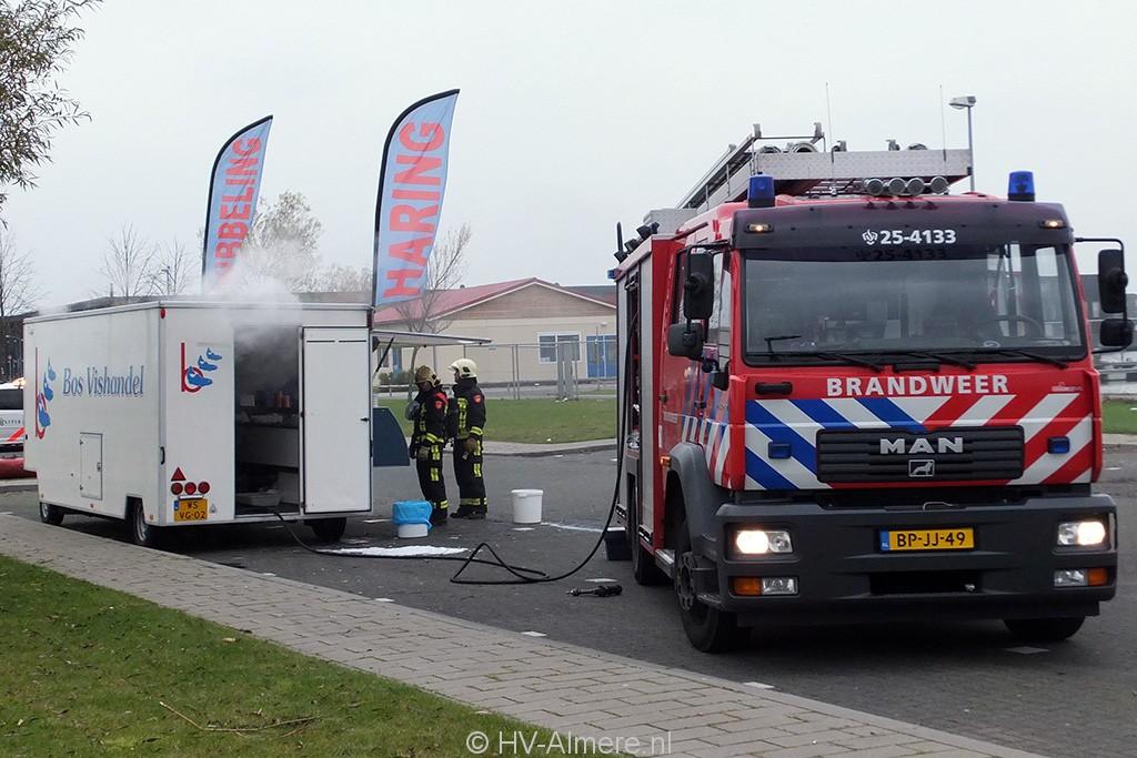 Brandweer blust brand in viskraam Noorderplassen 2