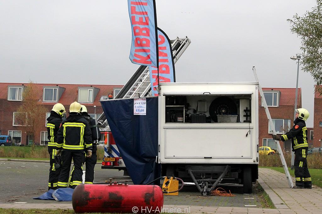 Brandweer blust brand in viskraam Noorderplassen 6